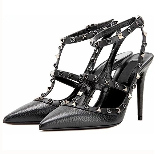 Chirs-T Women's Black Rivets Buckle Studded Sandals T-Strap Kitten Dress Sandals 7 - Times Normal Fedex Delivery