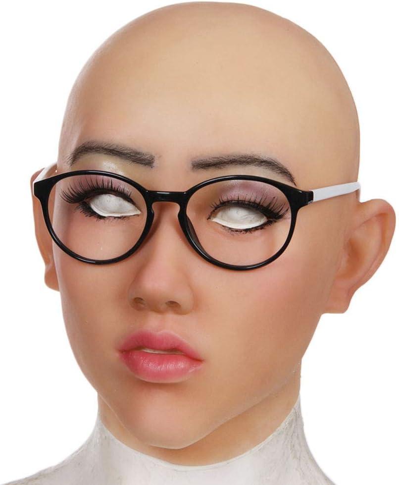 MMMJ Cosplay Máscara de látex Realista de látex Femenina Cuerpo Humano Máscara Parte Superior Fiesta Juego de rol Sexy Traje Mujer máscaras de Regalo,Bronce