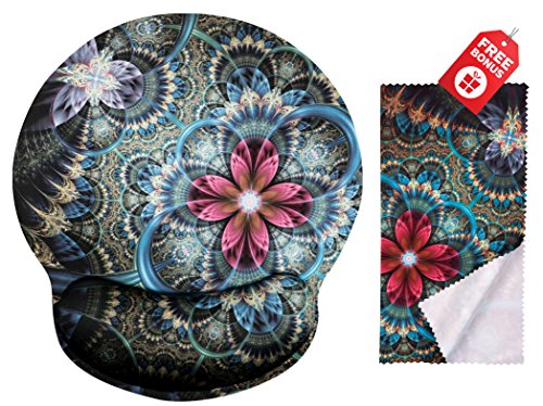 Fantasy Fractal Florals Ergonomic Design Mouse Pad with Wrist Rest Hand Support. Round Large Mousing Area. Matching Microfiber Cleaning Cloth for Glasses & Screens. Great for Gaming & ()