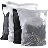 Tenrai Delicates Laundry Bags, Bra Fine Mesh Wash Bag, Zippered, Protect Best Clothes in the Washer (2 Black & 2 White, Set of 4)