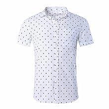 Men's Polka-Dot Print, Short Sleeve Casual Shirt