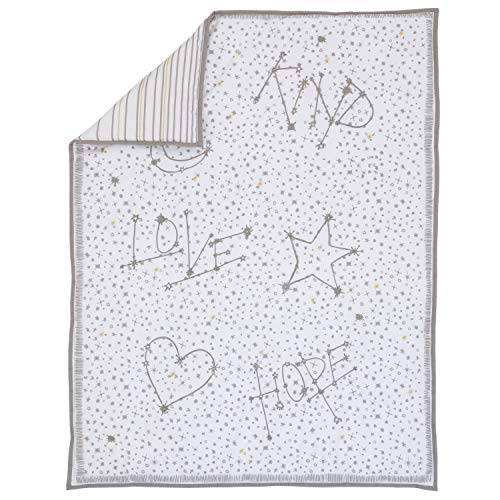 ED Ellen DeGeneres Starry Night - Soft 100% Cotton Grey, White, Gold Starbursts, Stripes Embroidered Nursery Crib Quilt, Grey, White, Gold