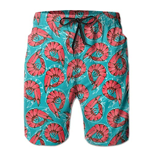 P-AKAS Mens Quick Dry Beach Shorts - Casual Swim Trunks - Red Shrimp Seafood Teal 3D Print Summer Surfing Shorts with Elastic Waist Drawstring