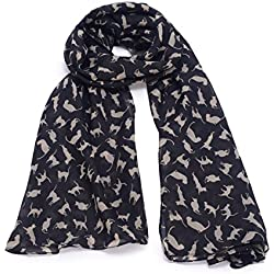 REINDEAR Premium Women Cat Kitten Scarf US Seller (Black)