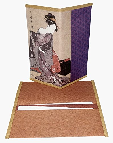 Set of 2 Japanese Rice Paper Wallet or Checkbook Cover Lady with Cat Design Decorative Gift Box Included