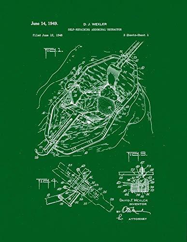 Self Retractors Retaining (Self-retaining Abdominal Retractor Patent Print Green (5
