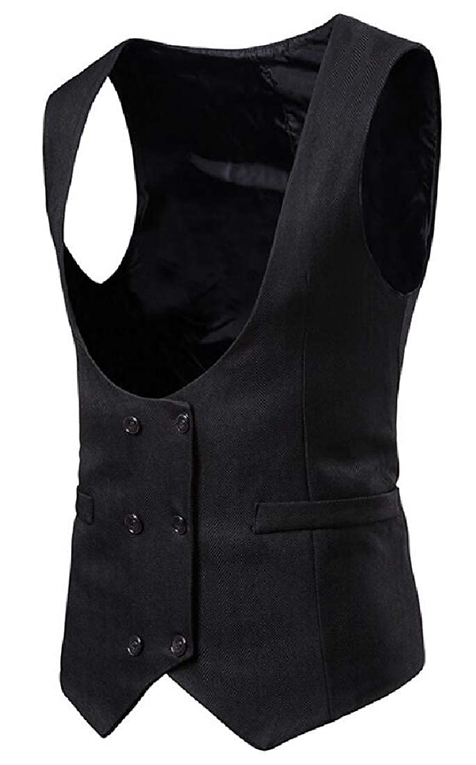 Mens Solid Button CasualSleeveless Jacket Coat Vest Blouse