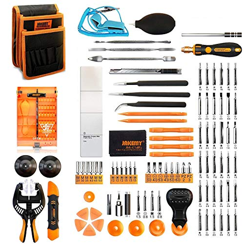 Jakemy Screwdriver Set, 99 in 1 with 50 Magnetic Precision Driver Bits, Repair Tool kit with Pocket Tool Bag for iPhone 8 / Plus, Computer, Macbook, Cell Phone, PC, Laptop, Tablet, Game Console Computer Repair Pc Notebook