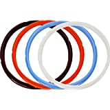 Lozom Silicone Sealing Ring, 4pcs, Orange & Common Transparent White&Savory Sky Blue&Rich Brown, Fit for 5qt / 6qt (5/6Qt)