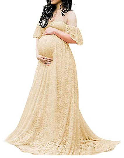 7aa7136f76f4a Maternity Photography Props Floral Lace Dress Fancy Pregnancy Gown for Baby  Shower Photo Shoot