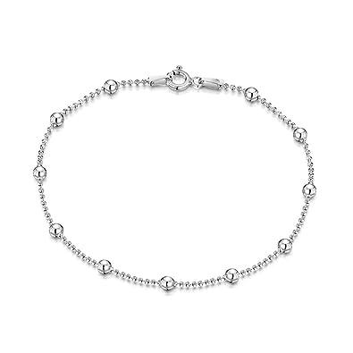 Amberta 925 Sterling Silver 3 mm Heart Chain Bracelet Size 7.5