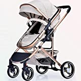 MRXUE Baby Stroller Multi-Function High Landscape Visible Sunroof Can Sit Large Space Single-Handed Car Suitable for 0-3 Years Old,Beige