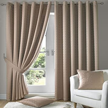 Madison Latte Eyelet Curtains 90