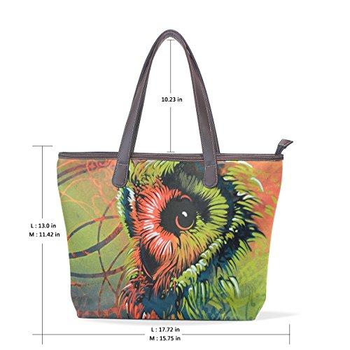 33x45x13 Grand Bandoulière Owl Coosun Sac En Pu À Muticolour Femmes Cm L Poignée Cuir zP6xwqgY