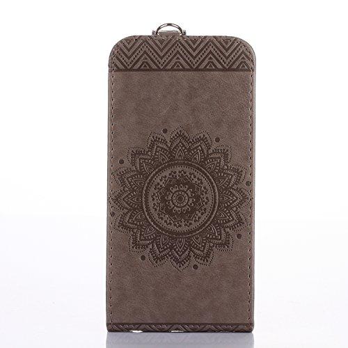 Funda para iPhone 8Plus, iPhone 7Plus Carcasa Cuero, CLTPY [2 en 1, Separable] Cubierta de Billetera Estilo Libro con Diseño de Mandala 3D para Apple iPhone 7Plus/8Plus + 1 x Lápiz Gratis - Rosa Rosa Gris B