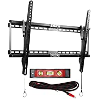 Tquens TV Wall Mount [Tilt] H400 0 to 15° Tilt Range FITS 20-75 Flat Panel Display TVs up to VESA 600 x 400 and 165lbs Includes a Twisted Veins HDMI cable and a Magnetic Bubble Level