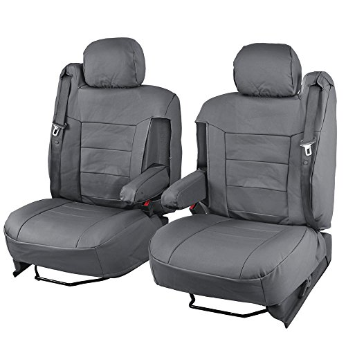 Charcoal Gray PU Leather Seat Covers Luxury Leatherette - Armrest & Integrated Seatbelt
