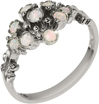 925 Sterling Silver Real Genuine Opal Womens Eternity Band Ring