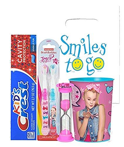 JoJo Siwa Inspired Girl's 5pc Bright Smile Oral Hygiene Bundle! JoJo 2pk Soft Manual Toothbrush, Toothpaste, Brushing Timer & Mouthwash Rinse Cup! Plus Dental Gift & Remember to Brush Visual Aid!