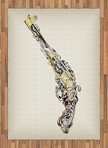 Western Area Rug by Lunarable, Cowboy Movie Inspired Gun Pistol Made with Floral Swirls and Dots, Flat Woven Accent Rug for Living Room Bedroom Dining Room, 5.2 x 7.5 FT, Dark Taupe Golden and White by Lunarable