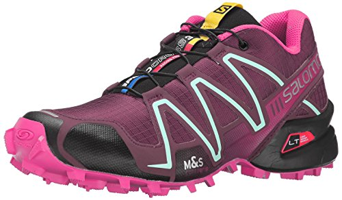 Salomon Women's Speedcross 3 W Trail Running Shoe, Bordeaux/Hot Pink/Lotus Pink, 9.5 B US