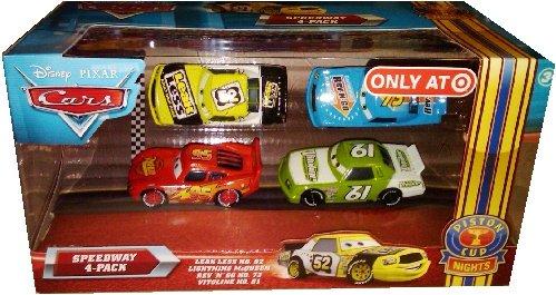 Less Piston - Disney / Pixar CARS Movie Exclusive 1:55 Die Cast Piston Cup Nights Speedway 4-Pack Leak Less, Lightning McQueen, Rev N' Go & Vitoline