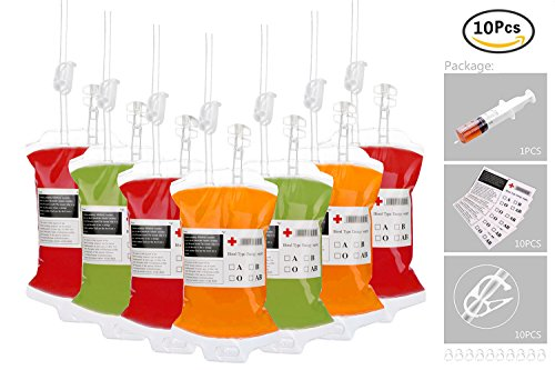 Halloween Party Cups, Blood Bag For Theme Parties-Set of 10 Reusable Juice Energy Drink Container with Funnel for Christmas Carnival Children Funny Novelty Party Favors (Easy Halloween Drinks For A Party)