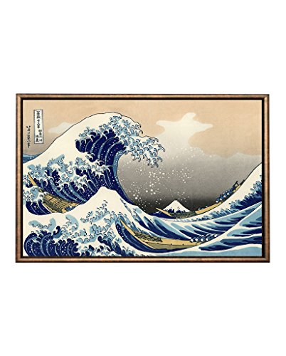 Eliteart-The Great Wave Off Kanagawa by Katsushika Hokusai Reproduction Giclee Art Canvas Prints-Framed size:21 1/4
