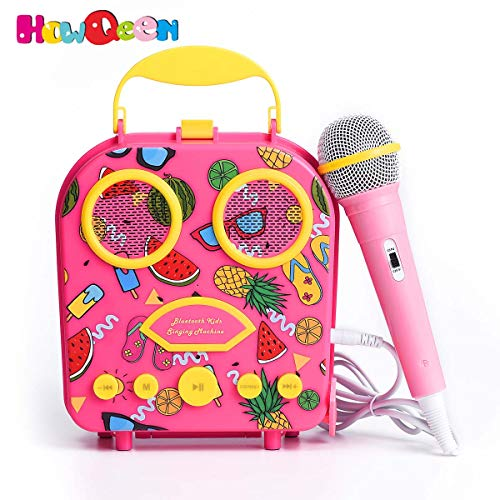 Bluetooth Speaker Children's Karaoke Speaker Portable Microphone Beach Handbag Karaoke Bluetooth Speaker Wireless Cartoon Speaker for Kids for Indoor Outdoor Travel Activities with Microphone (Pink)