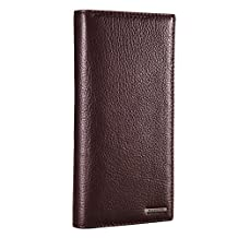 Banuce Men's Cowhide Leather Bifold Long Wallet(Brown)