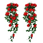MARJON-FlowersPack-of-2-Artificial-Haning-Plants-Fake-Silk-Rose-Flowers-Hanging-Garland-Rattan-Ivy-Vine-for-Wedding-Party-Garden-Wall-Decoration