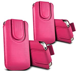 ONX3 - TWIN PACK - Huawei Ascend Y600 botón magnético PU Tire de la lengüeta protectora de piel cubierta de bolsa de la caja (Hot Pink)