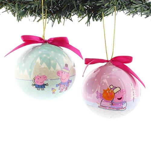 Peppa Pig Kurt Adler 2 piece Decoupage Ball Ornament Set Gift Boxed (Mint Green) (Ball Decoupage)