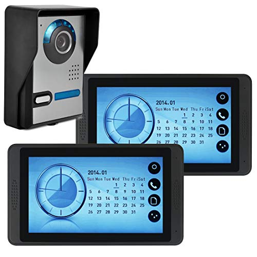 Telephone Entry System Lcd - Intercom Video Door Phone Video Doorbell System Video Entry System Intercom 7 in LCD Monitor IR Night Vision for Security for Children Older Familly(1-Camera 2-Monitor)