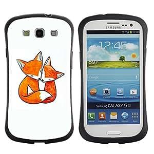 Fuerte Suave TPU GEL Caso Carcasa de Protección Funda para Samsung Galaxy S3 I9300 / Business Style fox love