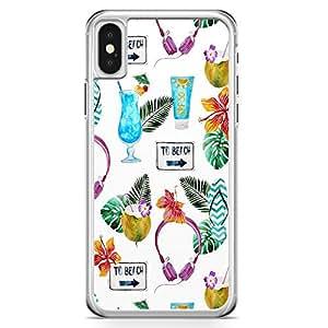 iPhone X Transparent Edge Phone Case Beach Phone Case Beach Items Pina iPhone X Cover with Transparent Frame