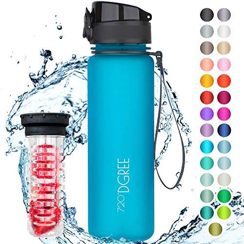 """720°DGREE Trinkflasche """"uberBottle"""" +Früchtebehälter - 500ml - Auslaufsicher, BPA-Frei - Für Kinder, Schule, Sport, Fitness - Schlanke Wasserflasche aus Tritan - Leicht, Bruchsicher, Nachhaltig"""