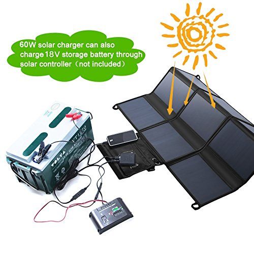 LESHP Highest Efficient Solar Charger 60W Foldable Sunpower Solar Panel Charger Dual Output (5V USB + 18V DC) For StorageBattery, iPhone, iPad, Android Smart Phone by LESHP (Image #3)