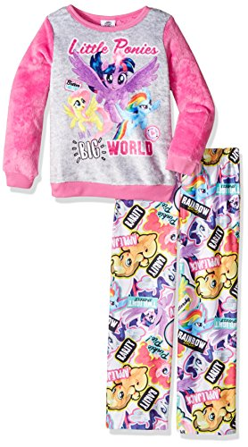 (My Little Pony Little Girls' 2-Piece Fleece Pajama Set, Pony World Pink, 4)