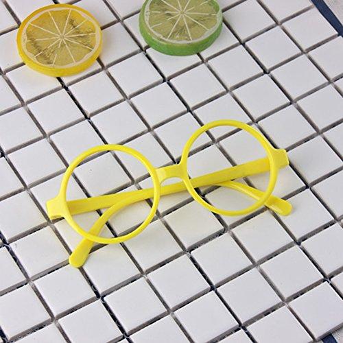 Cadre de lunettes rondes pour enfants - Lunettes enfants Geek / Nerd Retro Reading Eyewear Pas de lentilles pour filles Garçons - Juleya Jaune