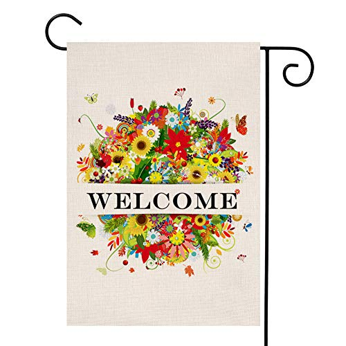 - YOENYY Welcome Summer Floral Bouquet Garden Flag Small Farmhouse Burlap Vertical Double Sided Yard Decoration 12.5 x 18 Inch