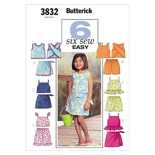 Butterick Pattern 3832 ~ Six Sew Easy Girl's Top, Skort and Shorts ~ 2-3-4-5