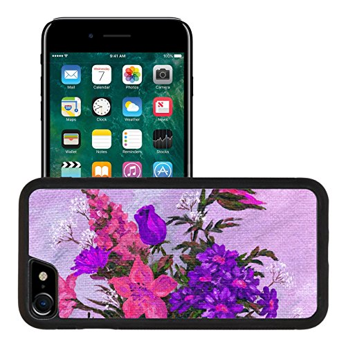 Liili Apple iPhone 7 iPhone 8 Aluminum Backplate Bumper Snap iphone7/8 Case Flowers bouquet Picture drawing oil paints on a canvas Photo (Flower Backplate)