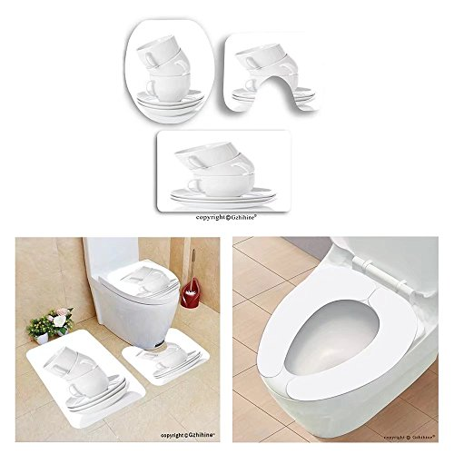 Gzhihine custom toilet seat three-piecestack of white china cups and saucers on a wh