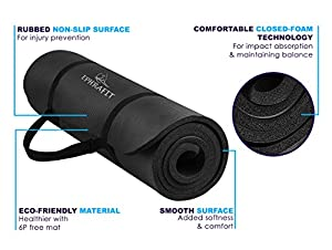 EphraFit   Extra Thick Yoga Mat With Carrying Strap   For Yoga, Pilates, PiYo, Stretching and More   Extra Large for All Body Types and Sizes  from xuefeng