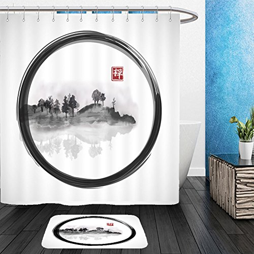 Fog Machine Toronto (Vanfan Bathroom 2?Suits 1 Shower Curtains & ?1 Floor Mats Island with trees in fog on white background. Traditional Japanese ink painting sumi e. Vector illustration From Bath room)