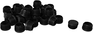 """uxcell 1"""" OD Plastic Round Tube Insert Glide End Cap Pad 36pcs 0.87""""-0.94"""" Inner Dia for Furniture Floor Deck Protector Anti-Scratch"""