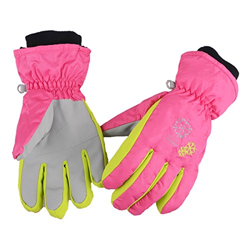 Azarxis Kids Children Ski Gloves Winter Snow Gloves Waterproof Winter Warm Gloves for Snowboarding, Sledding (S, Rose Red)