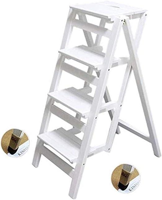 Escalera multifunción de madera maciza silla de casa cocina multifunción plegable silla de escalera mueble escalera de 4 escalones elevador (color: color blanco): Amazon.es: Bricolaje y herramientas