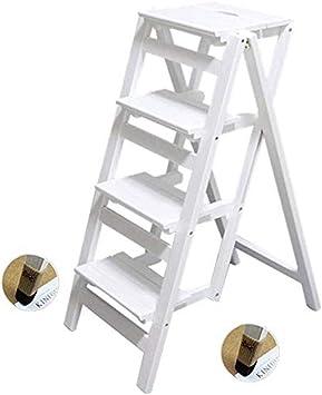 Gjrff Escalera multifunción de madera maciza silla de casa cocina multifunción plegable silla de escalera mueble escalera de 4 escalones elevador (color: color blanco): Amazon.es: Bricolaje y herramientas